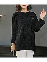 Недорогие -женская хлопчатобумажная футболка - сплошной цветной шею