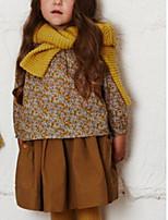Недорогие -Дети Девочки Классический Однотонный Длинный рукав Хлопок / Полиэстер Платье Коричневый 110