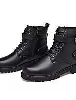 Недорогие -Жен. Наппа Leather Зима Ботинки На толстом каблуке Сапоги до середины икры Черный