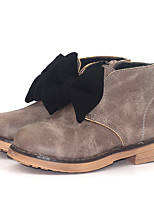 Недорогие -Девочки Обувь Искусственная кожа Наступила зима Армейские ботинки Ботинки Бант для Дети Черный / Розовый / Верблюжий