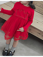 Недорогие -малыш Девочки Классический Повседневные Однотонный Длинный рукав Хлопок / Полиэстер 1 предмет Красный 100