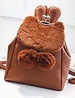 Недорогие -Жен. Мешки Искусственный мех / PU рюкзак Молнии Сплошной цвет Черный / Серебряный / Хаки