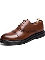 Недорогие -Муж. Официальная обувь Искусственная кожа Весна & осень Английский Туфли на шнуровке Черный / Коричневый / Свадьба / Для вечеринки / ужина