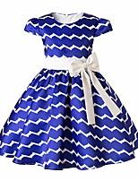 Недорогие -Дети Девочки Классический Полоски С короткими рукавами Платье Синий 110