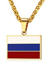 Недорогие -Муж. Классический Ожерелья с подвесками - Нержавеющая сталь Флаг Классика Золотой, Серебряный 55 cm Ожерелье Бижутерия 1шт Назначение Подарок, Повседневные
