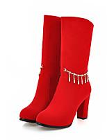 Недорогие -Жен. Полиуретан Наступила зима На каждый день / Милая Ботинки На толстом каблуке Круглый носок Сапоги до середины икры Черный / Красный / Для вечеринки / ужина