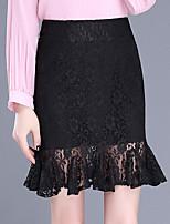 Недорогие -женский выход / вечеринка плюс размер длиной до колен трубы / юбки русалки - сплошное цветное кружево