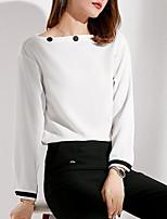 Недорогие -женская спортивная хлопчатобумажная футболка - сплошной цветной шею