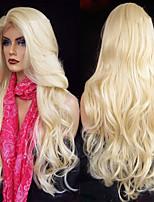 Недорогие -Парики из искусственных волос / Синтетические кружевные передние парики Жен. Волнистый / Естественные кудри Золотистый Стрижка каскад Искусственные волосы 26 дюймовый / Лента спереди / Жаропрочная