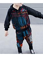 Недорогие -Дети Мальчики Классический Однотонный / Геометрический принт Длинный рукав Обычный Обычная Хлопок / Полиэстер Набор одежды Черный