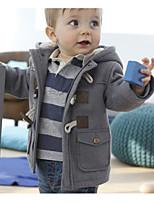 Недорогие -Дети (1-4 лет) Мальчики Классический Однотонный Длинный рукав Полиэстер Куртка / пальто Коричневый 110