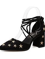 Недорогие -Жен. Полиуретан Весна & осень Обувь на каблуках На толстом каблуке Заостренный носок Черный / Синий