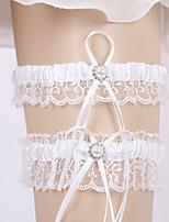 baratos -Organza / Terylene Casamento Wedding Garter Com Caixilhos / Fitas / Elástico / Cristal / Strass Ligas Casamento