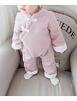 Недорогие -малыш Девочки Классический Однотонный Длинный рукав Хлопок / Полиэстер 1 предмет Розовый