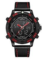 Недорогие -Муж. Спортивные часы Японский Цифровой 30 m Защита от влаги Календарь Секундомер Натуральная кожа Группа Аналого-цифровые Мода Черный / Красный - Черный Красный / Хронометр / Фосфоресцирующий