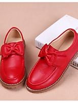 Недорогие -Девочки Обувь Кожа Весна & осень Детская праздничная обувь Мокасины и Свитер Бант для Дети Черный / Красный