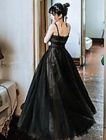 baratos -Cisne Negro Elegante Ocasiões Especiais Mulheres Vestidos Baile de Máscara Preto Vintage Cosplay Tule Tecido Sem Manga