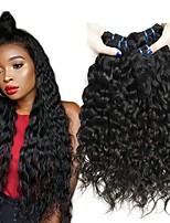Недорогие -4 Связки Малазийские волосы Волнистые 8A Натуральные волосы Необработанные натуральные волосы Подарки Головные уборы Человека ткет Волосы 8-28 дюймовый Естественный цвет Ткет человеческих волос