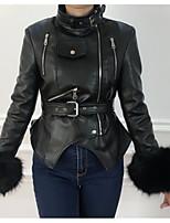 Недорогие -Жен. Повседневные Уличный стиль Обычная Кожаные куртки, Однотонный Отложной Длинный рукав Искусственный мех / Искусственная кожа Черный S / M / L / Тонкие