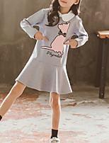 Недорогие -Дети Девочки Мультипликация Длинный рукав Платье