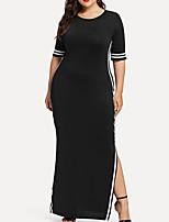 abordables -Femme Elégant Maxi Mince Gaine Robe Couleur Pleine Taille haute Noir Rouge Marine XXXXL XXXXXL XXXXXXL Manches Courtes / Sexy