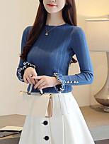 Недорогие -женский выход из тощей футболки - сплошной цвет шеи экипажа