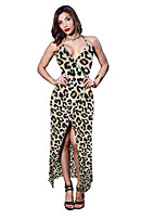 baratos -Mulheres Elegante Bainha Vestido Leopardo Longo