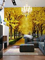 Недорогие -обои / фреска холст Облицовка стен - Клей требуется Деревья / листья / Полосы / волосы / 3D