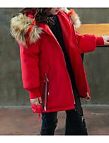 Недорогие -Дети Девочки Классический Повседневные Однотонный Длинный рукав Обычная Хлопок / Полиэстер На пуховой / хлопковой подкладке Черный 140
