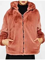 Недорогие -Жен. Повседневные Классический Обычная Пальто с мехом, Однотонный Отложной Длинный рукав Полиэстер Розовый S / M / L