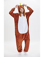 abordables -Adulte Pyjamas Kigurumi Unicorn Animé Combinaison de Pyjamas fibre de polyester Marron Cosplay Pour Homme et Femme Pyjamas Animale Dessin animé Fête / Célébration Les costumes