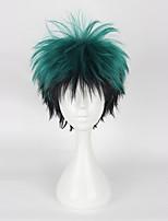 Недорогие -Парики из искусственных волос Муж. Прямой Зеленый Ассиметричная стрижка Искусственные волосы 4 дюймовый Косплей Зеленый Парик Короткие Без шапочки-основы Зеленый