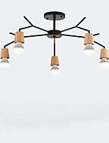 Недорогие -QINGMING® 5-Light Люстры и лампы Потолочный светильник Окрашенные отделки Дерево Металл Мини 110-120Вольт / 220-240Вольт