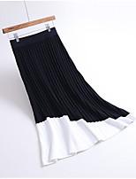 Недорогие -женские хлопчатобумажные юбки с карандашом длиной до колена - сплошной цвет