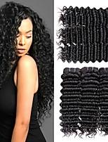 Недорогие -6 Связок Бразильские волосы Глубокий курчавый 8A Натуральные волосы Необработанные натуральные волосы Подарки Косплей Костюмы Человека ткет Волосы 8-28 дюймовый Естественный цвет