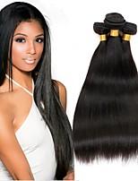 Недорогие -3 Связки Бразильские волосы Перуанские волосы Прямой 8A Натуральные волосы Необработанные натуральные волосы Подарки Косплей Костюмы Головные уборы 8-28 дюймовый Естественный цвет