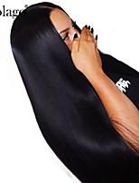 billiga -Äkta hår Spetsfront Peruk Brasilianskt hår Naturlig Straight Peruk Deep Parting Sidodel 250% Hårtäthet med babyhår Gåva Heta Försäljning Bekväm Naturlig Dam Lång Äkta peruker med hätta Dolago