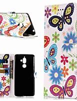 Недорогие -Кейс для Назначение Nokia Nokia 7 Plus / Nokia 6 2018 Кошелек / Бумажник для карт / со стендом Чехол Бабочка Твердый Кожа PU для Nokia 7 Plus / Nokia 6 2018 / Nokia 1