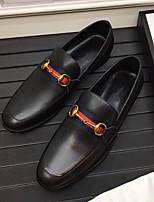 Недорогие -Муж. Комфортная обувь Наппа Leather Осень Мокасины и Свитер Черный