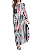 baratos -Mulheres Moda de Rua / Elegante Calças - Listrado / Estampa Colorida Estampado Azul / Longo / Para Noite