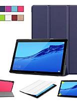 abordables -Coque Pour Huawei Huawei Mediapad T5 10 / MediaPad T3 10(AGS-W09, AGS-L09, AGS-L03) Avec Support / Clapet / Origami Coque Intégrale Couleur Pleine Dur faux cuir pour Huawei Mediapad T5 10 / Huawei