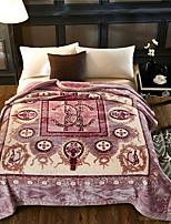 baratos -Velocino de Coral / Super Suave, Gravado Floral / Botânico Tecido Felpudo cobertores
