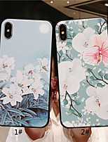 baratos -Capinha Para Apple iPhone XR / iPhone XS Max Áspero / Com Relevo / Estampada Capa traseira Flor Macia TPU para iPhone XS / iPhone XR / iPhone XS Max