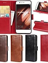 Недорогие -Кейс для Назначение Huawei P20 Pro / P20 lite Кошелек / Бумажник для карт / со стендом Чехол Однотонный Твердый Настоящая кожа для Huawei P20 / Huawei P20 Pro / Huawei P20 lite
