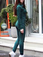 Недорогие -Жен. Повседневные Воротник-стойка Зеленый Блесна Комбинезоны, Однотонный S M L Хлопок Длинный рукав