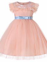 Недорогие -Дети Девочки Активный Повседневные Однотонный Бант Без рукавов До колена Полиэстер Платье Розовый 150