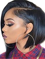 Недорогие -человеческие волосы Remy Полностью ленточные Лента спереди Парик Бразильские волосы Прямой Естественный прямой Черный Парик Стрижка боб 130% 150% 180% Плотность волос