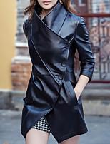 Недорогие -Жен. Повседневные Классический Обычная Кожаные куртки, Однотонный Лацкан с тупым углом Длинный рукав Полиуретановая Черный XXL / XXXL / 4XL / Тонкие