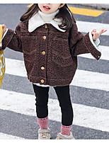 Недорогие -Дети Девочки Классический Однотонный Длинный рукав Обычная Хлопок / Полиэстер Куртка / пальто Коричневый 110