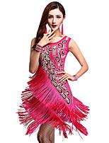 baratos -Dança Latina Vestidos Mulheres Espetáculo Fibra de Leite Mocassim / Combinação / Em Camadas Sem Manga Alto Vestido